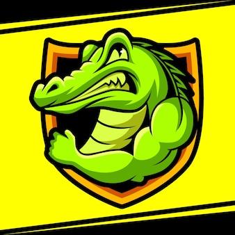 Ilustracja wektorowa logo esport silne maskotka aligatora