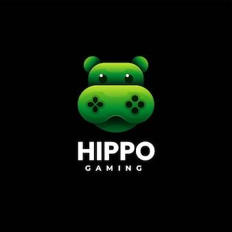Ilustracja wektorowa logo hippo gaming gradient kolorowy styl