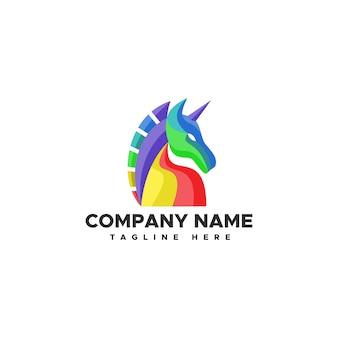 Ilustracja wektorowa logo kolor jednorożca