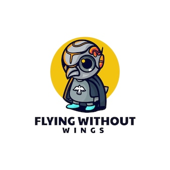Ilustracja wektorowa logo latający pingwin styl prosty maskotka
