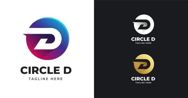 Ilustracja wektorowa logo litera d z projektem w kształcie koła