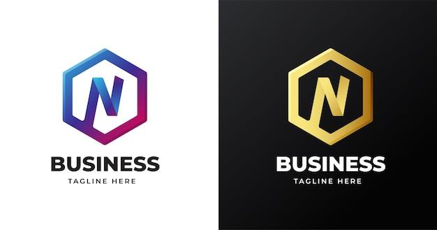 Ilustracja wektorowa logo litera n z geometrycznym kształtem