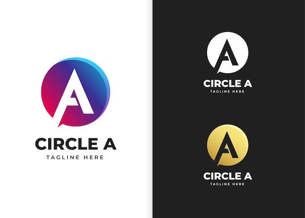 Ilustracja wektorowa logo litery a z kształtem koła