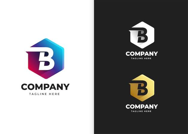 Ilustracja wektorowa logo litery b z geometrycznym kształtem