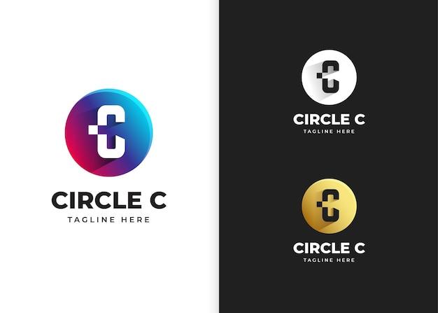 Ilustracja wektorowa logo litery c z kształtem koła