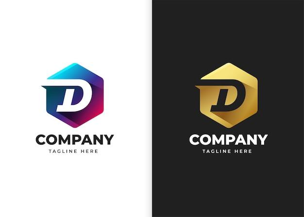 Ilustracja wektorowa logo litery d z geometrycznym kształtem