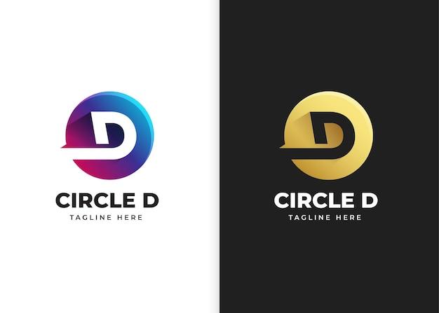 Ilustracja wektorowa logo litery d z kształtem koła