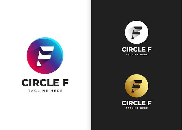 Ilustracja wektorowa logo litery f z kształtem koła