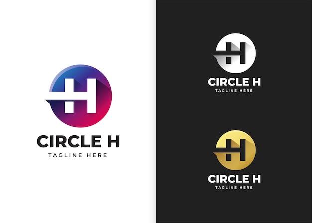 Ilustracja wektorowa logo litery h z kształtem koła