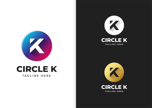 Ilustracja wektorowa logo litery k z kształtem koła