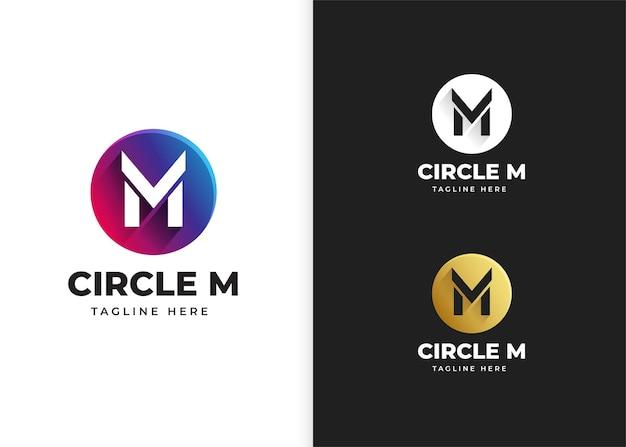 Ilustracja wektorowa logo litery m z kształtem koła