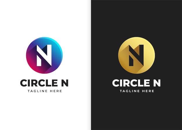 Ilustracja wektorowa logo litery n z kształtem koła