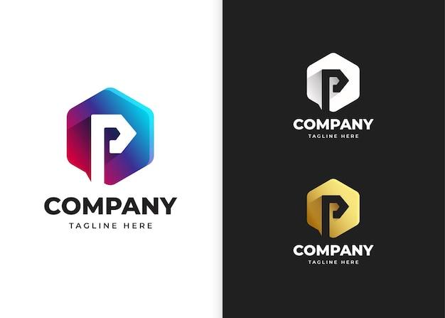 Ilustracja wektorowa logo litery p z geometrycznym kształtem