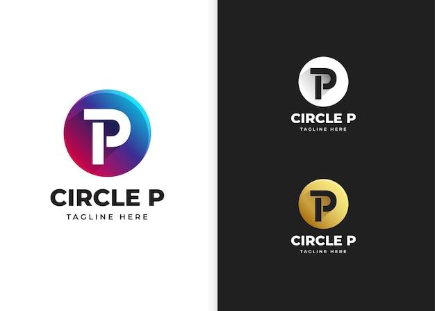 Ilustracja wektorowa logo litery p z kształtem koła
