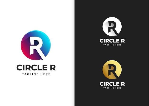 Ilustracja wektorowa logo litery r z kształtem koła
