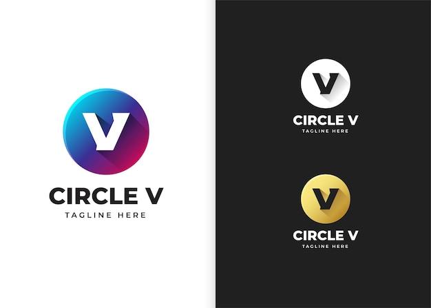Ilustracja wektorowa logo litery v z kształtem koła