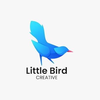 Ilustracja wektorowa logo mały ptak gradient kolorowy styl