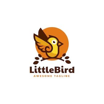 Ilustracja wektorowa logo mały ptaszek styl prosty maskotka