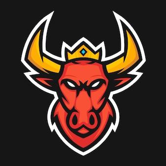 Ilustracja wektorowa logo maskotka czerwony byk