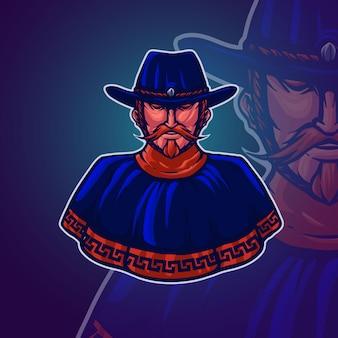 Ilustracja wektorowa logo maskotka kowboj