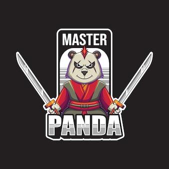 Ilustracja wektorowa logo maskotka mistrz panda