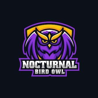 Ilustracja wektorowa logo nocturnal owl e sport and sport style