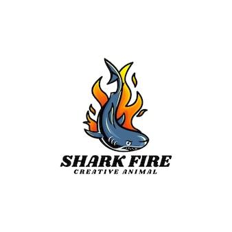 Ilustracja wektorowa logo ogień rekina prosty styl maskotka