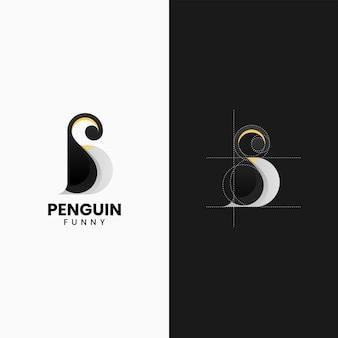 Ilustracja wektorowa logo pingwin gradient kolorowy styl