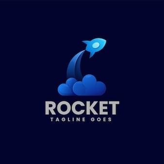 Ilustracja wektorowa logo rakieta gradient kolorowy styl