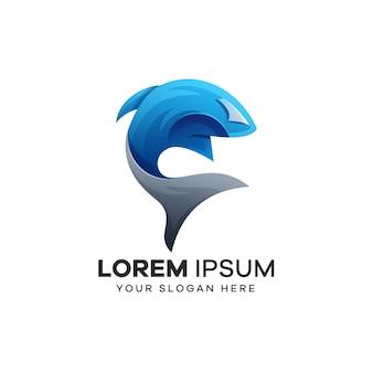 Ilustracja wektorowa logo rekina
