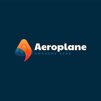 Ilustracja wektorowa logo samolotem litera stylu kolorowy gradient
