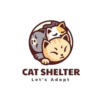 Ilustracja wektorowa logo schronisko dla kota styl prosty maskotka