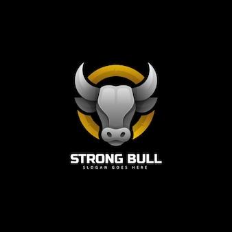 Ilustracja wektorowa logo silny byk gradient kolorowy styl