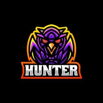 Ilustracja wektorowa logo sowa hunter e sport i styl sportowy