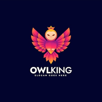 Ilustracja wektorowa logo sowa król gradient kolorowy styl