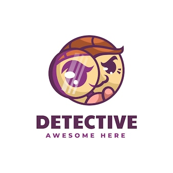 Ilustracja wektorowa logo styl prosty detektyw maskotka
