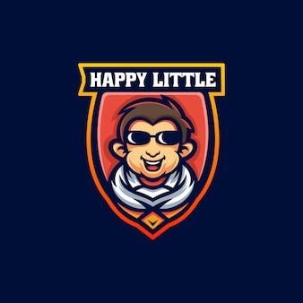 Ilustracja wektorowa logo szczęśliwy mała maskotka stylu cartoon
