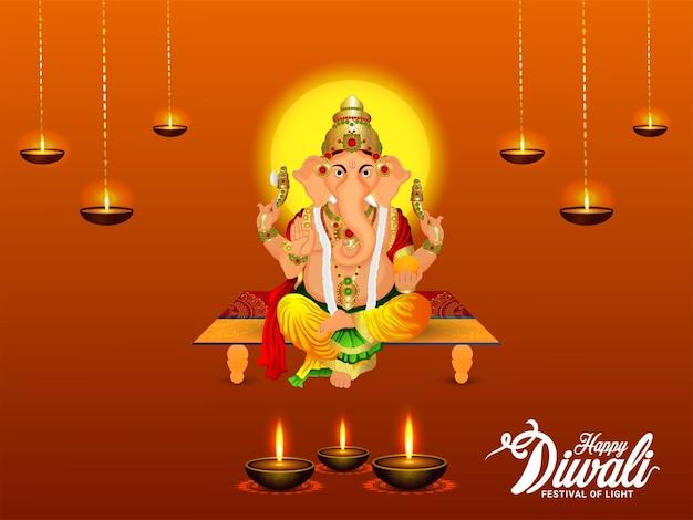 Ilustracja wektorowa lord ganesha dla karty z pozdrowieniami szczęśliwy dhanteras