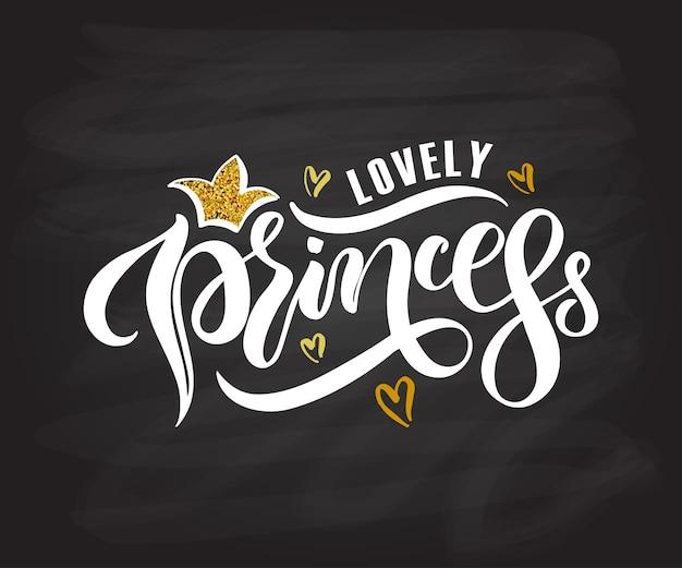 Ilustracja wektorowa lovely princess tekst dla dziewcząt ubrania urocza księżniczka odznaka ikona tagu