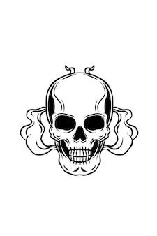 Ilustracja wektorowa ludzkiej czaszki i dymu