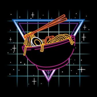 Ilustracja wektorowa makaronu ramen udon z neonowym stylem retrowave w czarnym tle