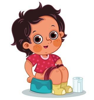 Ilustracja wektorowa małego chłopca dostającego się na nocnik