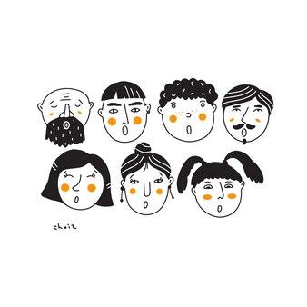 Ilustracja wektorowa małego chóru. doodle ze śpiewającymi twarzami. koncepcja zaproszeń, wydruki plakatów.