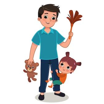 Ilustracja wektorowa małej dziewczynki przytulającej nogę ojca