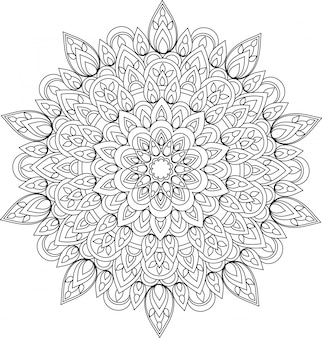 Ilustracja wektorowa mandali monochromatyczne konspektu.