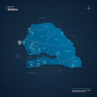 Ilustracja wektorowa mapa senegalu z niebieskimi punktami świetlnymi neonu
