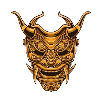 Ilustracja wektorowa maska samuraj złota