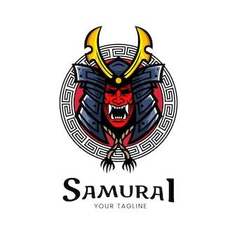 Ilustracja wektorowa maski japońskiego samuraja