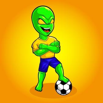 Ilustracja wektorowa maskotka piłki nożnej obcych