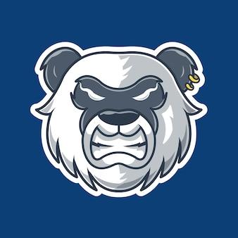 Ilustracja wektorowa maskotka zły panda. logo gier e-sport. szalona panda. logo maskotki. wild panda